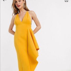 ASOS Design plunge side peplum hem dress in yellow